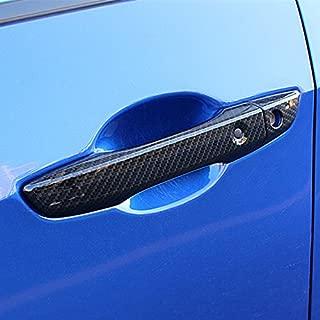 Sport Style Carbon Fiber Print Door Handle Cover Trim for Honda Civic 2016 2017 2018 (Carbon Fiber with Keyless Holes)