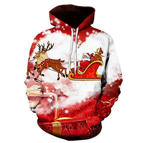 Mr.1991INC&Miss.GO Christmas Casual Loose 3D Printing Hoodie Sweatshirt 9 Code Red