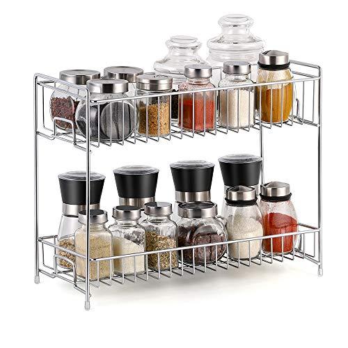 Gewürzregal 2 Ebenen Gewürzständer für küchenschrank küchen organizer 36,1 cm x 30,7 cm x 14,7 cm, Silber