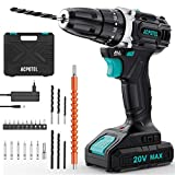 ACPOTEL Premium Brushless Drill, 20 Volt Lithium-Ion Max Cordless Drill, Impact Cordless Drill Kit with 1.5Ah Battery and Charger, 20+3 Torque Setting, 3/8 in Keyless Chuck, 24 Drill Bit