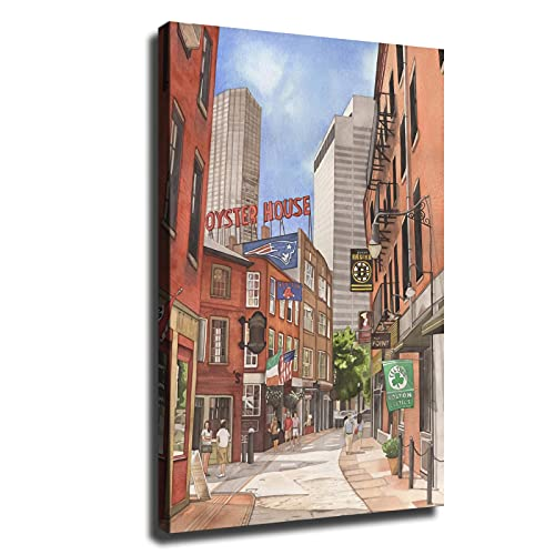 Street of Boston Sports Patriots Red Sox Bruins Celtics Canvas Art Posters Paintings Home Decor Wall Art Desktop Decor Artwork Pictures Print (Without Frame,16x24inch)
