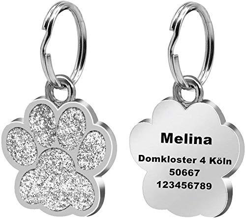 Cerolopy Personalisierter Hundemarke mit Gravur aus Edelstahl, Haustier ID Tag mit Namen, Adresse und Telefonnummer Prickelnde Haustier Marke für Hunde und Katzen inkl. Schlüsselring(Silber)