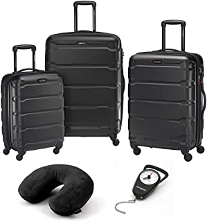 68311-1041 Omni Hardside Luggage Nested Spinner Set (20 Inch, 24 Inch, 28 Inch) Black Bundle with Microbead Neck Pillow with Travel Pouch and Manual Luggage Scale