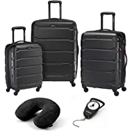 68311-1041 Omni Hardside Luggage Nested Spinner Set (20 Inch, 24 Inch, 28 Inch) Black Bundle with...