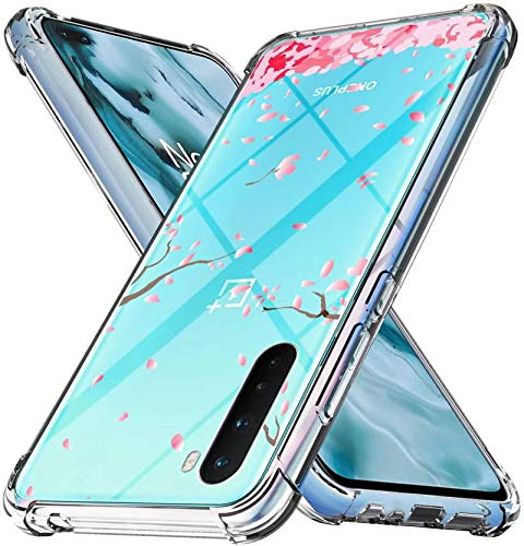 Oneplus Nord Case,1+Nord 5G Pink Flower Case for Girls Women Crystal Clear Soft Silicone Shockproof TPU Transparent Bumper Protective Phone Case Cover for OnePlus 8 Nord 5G, OnePlus Z