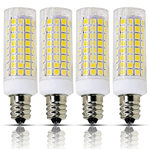 E11 led Bulb Dimmable, 8w(75w or 100w Halogen Bulbs Replacement), e11 T4 JD Mini Candelabra Base 110V 120V 130 Voltage Input Light Bulbs, Pack of 4 (Daylight 6000K)