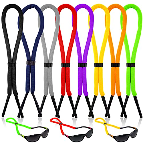 WXJ13 8 Pieces Floating Sunglass Strap Adjustable Sunglasses Straps Glasses Float Adjustable Eyewear Retainer Safety Outdoor Eyeglass Rope for Sport Swimming Men Women, 8 Color