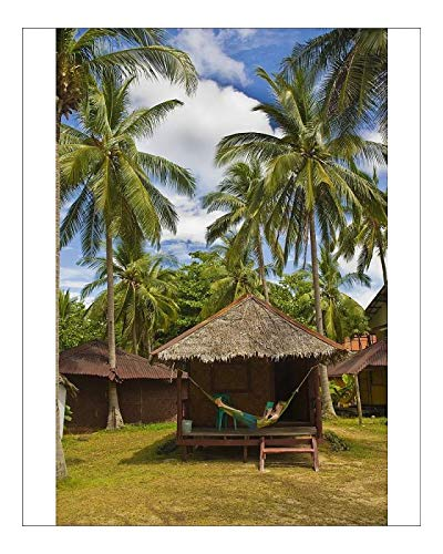 robertharding 10x8 Print of Tourist relaxing in a hammock on a bamboo beach hut on the Thai island of (8246295)