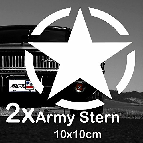 Finest-Folia 2X Army Stern Retro Oldschool Aufkleber Sticker Hotrod Rat US Star Armee 10x10cm (K013)