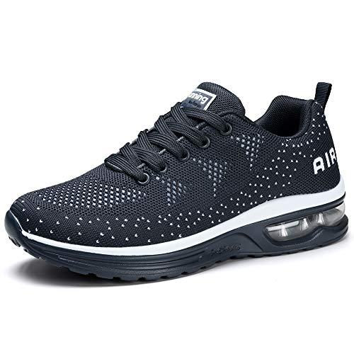 Running Shoes Air Cushion Womens Tennis Shoe Lightweight Fashion Walking Sneakers Breathable Athletic Training Sport for Womens 7 Dark Grey