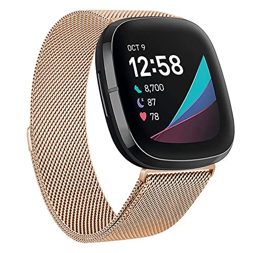 ZOYAO Compatible con Fitbit Versa 3, pulsera Fitbit Sense, correa de metal ajustable de acero inoxidable con cierre magnético, pulsera compatible con Fitbit Versa 3/Fitbit Sense (L,oro rosa)