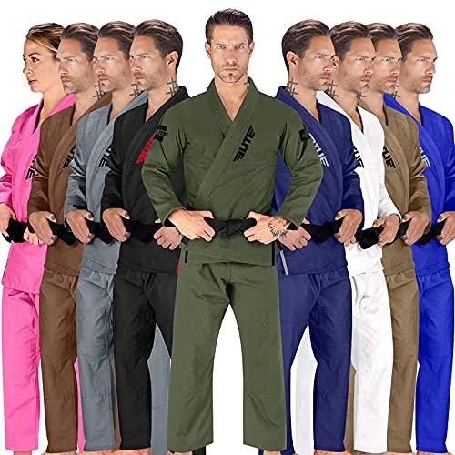 Elite Sports BJJ GI for Men IBJJF Kimono BJJ Jiujitsu GIS W/Preshrunk Fabric & Free Belt (See Special Sizing Guide) (Premium Green, Size 4)