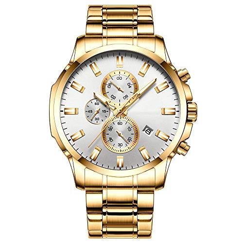 Eantpure Business Casual Reloj,Reloj con Banda de Acero de Cuarzo Resistente al Agua, Seis Manos, multifunción, Calendario Masculino Watch-IS,Impermeable Elegante Relojes