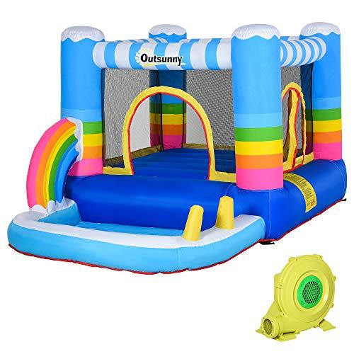 Outsunny Castello Gonfiabile per Bambini con Trampolino e Piscina, Pompa Elettrica Inclusa 290x200x155cm, Multicolore