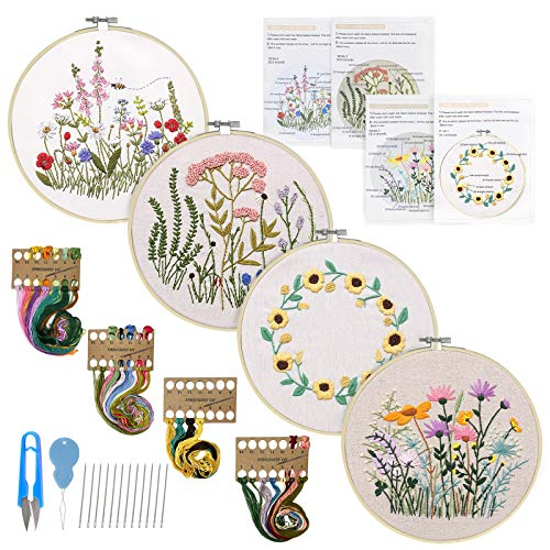4 Pack Embroidery Kits Including Embroidery Hoop, Color Threads, Instructions and Embroidery Scissors for Beginners-Handmade Needlepoint Kits for Adults Kids