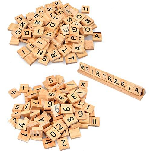 BUYGOO 201Pcs Buchstaben Holz Buchstabe Fliesen zum Spielen, Holzbuchstaben Holz Alphabet Fliesen aus Holz zum Basteln für Kinder Vorschule Bildung DIY Handwerk