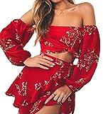 Longwu Mujer Boho Flower Impreso Off Shoulder Outfits Conjunto de Dos Piezas Tops + Falda Rojo-S