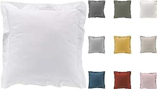 Taies d'oreiller x2 Percale 100% Coton 7 Coloris Différents - 63 X 63cm / 50 X 70cm (Blanc, 63x63 cm)