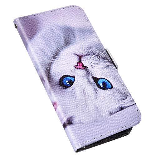 MoreChioce kompatibel mit Nokia 5 Hülle,kompatibel mit Nokia 5 Leder Flip Case,Kreativ Weiß Katze Lederhülle Klappbar Stand Protective Wallet Magnetische Karteneinschub