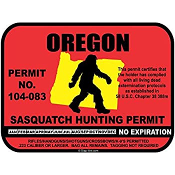 JS Artworks Oregon Sasquatch Hunting Permit License Bigfoot Vinyl Sticker Decal