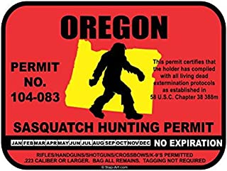 JS Artworks Oregon Sasquatch Hunting Permit License Bigfoot Vinyl Sticker Decal