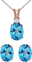 Jewel Zone US Oval Cut Simulated Swiss Blue Topaz & Simulated White Cubic Zirconia Pendant Earrings Set in 14k Gold Over Sterling Silver (3.15 cttw)