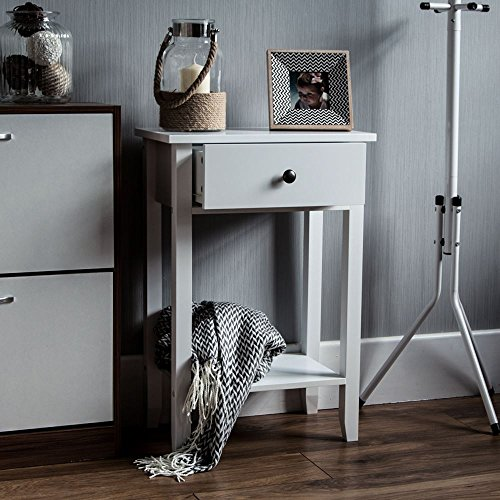 Home Discount Windsor 1 Drawer Console Table With Shelf, White Wooden Hallway Living Room Bedroom Dressing Dresser Desk Furniture