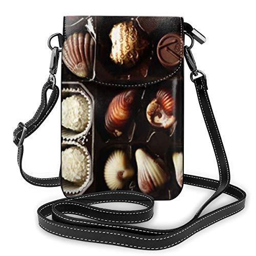 Goxegag Multifunktionale Leder Telefon Geldbörse, Leichte Kleine Schulter Umhängetasche Reisetasche Mit Verstellbarem Gurt Für Frauen-Schachtel Pralinen