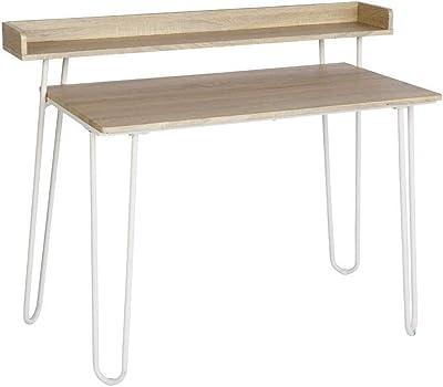 MEUBLE COSY Bureau informatique - Meuble bureau etudiant, structure acier et table MDF - 114x60x90cm ACER OAK HM Chêne