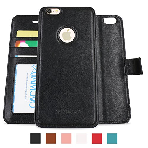 AMOVO Case for iPhone 6 [2 in 1], Vegan Leather 2 in 1 Folio Detachable Wallet Case with Box for iPhone 6/iPhone 6s case (iPhone 6/6s (4.7'') Black)