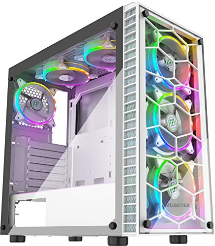 MUSETEX 6pcs 120mm ARGB Fans and USB 3.0 ATX Mid-Tower Computer Gaming Cases, 2 Tempered Glass Panels White Desktop Cases, PC Chassis(G05S6-BB)