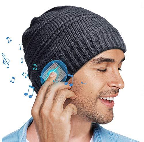 HANPURE Bluetooth Mütze GeschenkefürMänner Frauen - Bluetooth 5.0 Winter Musik Drahtloses Headset Strickmütze Laufmütze Paare Geschenke für Männer/Fraue/Mama/Papa/Sie/Ihn/Jungen/Mädchen