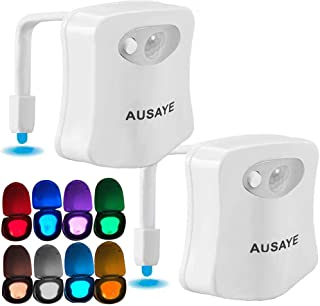Toilet Night Light (2Pack) by AUSAYE, 8-Color Led Motion Activated Toilet Light, Fit Any Toilet Bowl,Toilet Bowl Light with Two Mode Motion Sensor LED Bathroom Night Light for Fathers Day Gifts