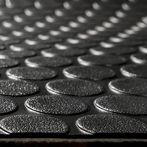 "RecPro RV Coin Flooring   Black   8' 6"" Wide   Nickel Pattern Trailer Flooring   Gym Flooring   Garage Flooring"