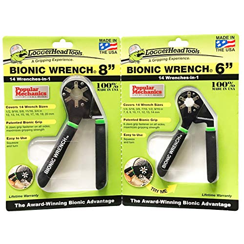 Logger Head Tools 2-PCS 14-in-1 BIONIC ADJUSTABLE WRENCH SET 6' & 8' US & Metric