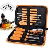 XDDIAS Intaglio di Zucca di Halloween, 11 PCS Kit di Strumenti di Zucca di Acciaio Inossidabile con 10 Pezzi Halloween Stencil