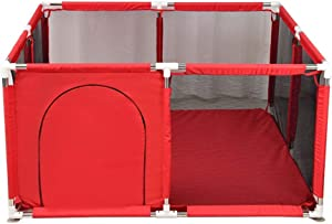 YEHL Playpen Red Baby Indoor Outdoor Security Fence for Toddler  Portable Play Yard Kids Safety Activity Center  66cm Tall   Size 128x128x66cm