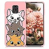 ZhuoFan Coque Xiaomi Redmi Note 9s / Redmi Note 9 Pro, Etui en Liquide Silicone 3D Rose avec Motif Dessin TPU Housse de Protection Case Cover Bumper pour Téléphone Xiaomi Redmi Note 9S, 3 Chat