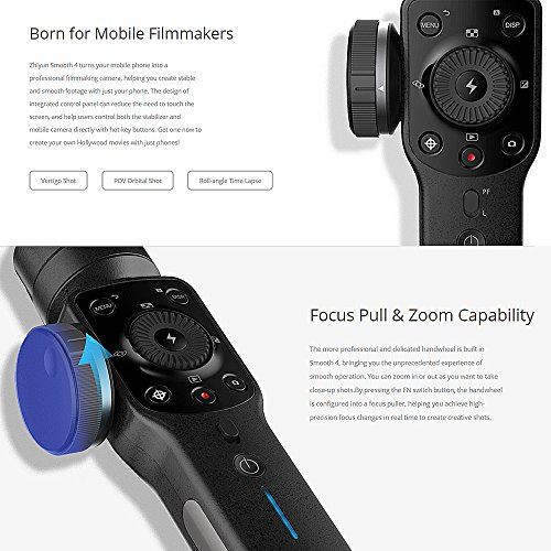 Zhiyun Smooth 4 3 Axis Handheld Gimbal Stabilizer, Focus Pull & Zoom Capability, Timelapse Expert, Object Tracking, Two-Way Charging & 12h Runtime, Phonego Mode for Instant Scene Transition - Black