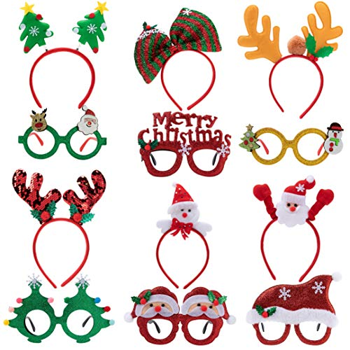 Christmas Headbands and Glasses Frames Bundle Set, 12 Pcs Assorted Design for Christmas Party Supplies and Party Favors (One Size Fits All)