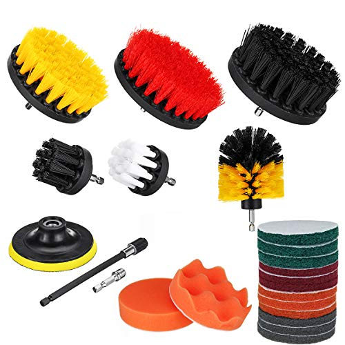 ZOYOSI 22Pcs/Set Drill Scrubber Cleaning Brush Kit for Bathroom Surfaces Tub Tile and Grout