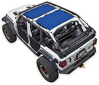SPIDERWEBSHADE Jeep Wrangler 2 Piece - front and rear Mesh Shade Top Sunshade UV Protection Accessory USA Made with 10 Year Warranty for Your JLU 4-Door (2018-current) in Blue