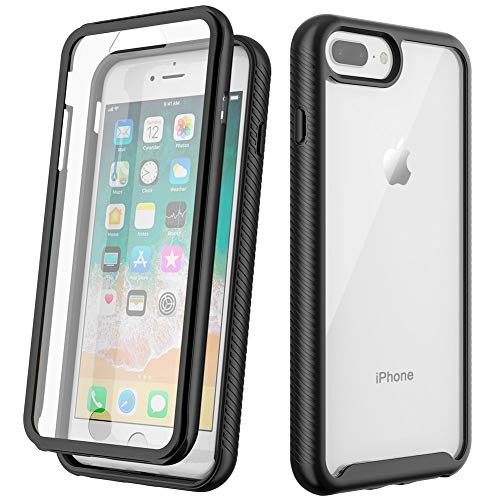 OCYCLONE iPhone 7 Plus Case, iPhone 8 Plus Case, 360 Degree Full Body Protective Clear Case with Built-in Screen Protector Shockproof Bumper Cover for iPhone 7 Plus/ 8 Plus 5.5 Inch - (Black + Clear)