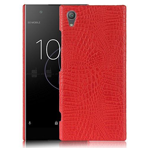 Para Sony Xperia XA1 Plus capa de couro sintético com estampa de crocodilo (Vermelho)