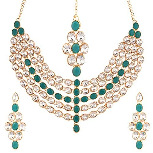 Efulgenz Gargantilla india Kundan Crystal Capas Estilo Collar Pendientes Maang Tikka Head Chain Bollywood Boda Nupcial Set para Mujeres, Verde