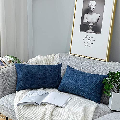 Mazu Homee Funda de almohada de lino de algodón, funda de cojín de arpillera, duradera, moderna y cómoda, funda de almohada de lino de algodón natural