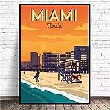 N/A Poster Drucken Miami Beach Travel Art Leinwand Poster