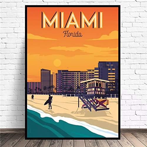 N/A Poster Drucken Miami Beach Travel Art Leinwand Poster Druckt Home Wall Decor Gemälde Leinwand Ölgemälde Poster Modernes Wandbild Esszimmer Dekoration