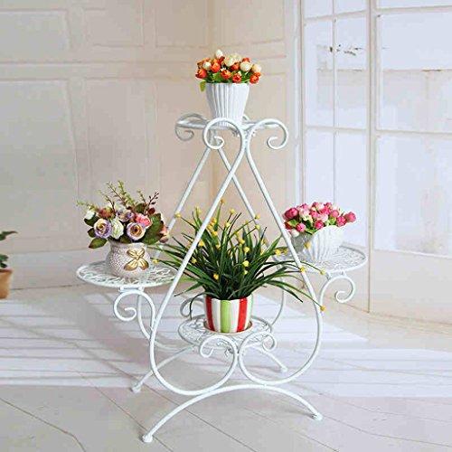 CKH Fleur de Style européen en Fer forgé à Plusieurs étages Salon intérieur Fleur rotin Vert Radis Balcon Pots de Fleurs étagère (Color : White)