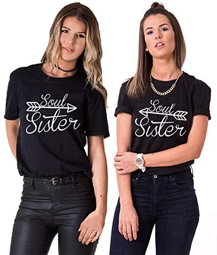 Best Friends T-Shirt für 2 Mädchen Soul Sister Shirt Pfeil BFF Shirt Beste Freunde Shirt Damen Best Friends Geschenk Sommer Oberteil Kurzarm Baumwolle 2 Stücke